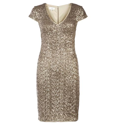 Hobbs' Gold Invitation Tamsin dress on sale for £139. Perfect for a posh corporate night out