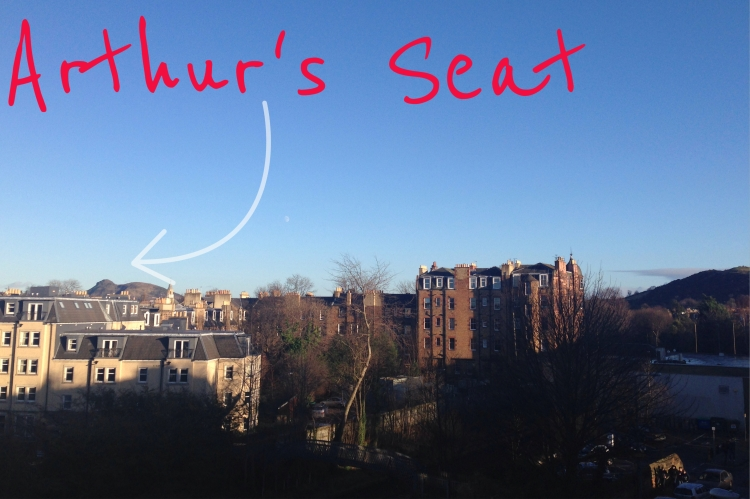 A sunny view from my flat. You can see Arthur Seat in the distance. At 823 feet high, Arthur's Seat is the highest peak in Edinburgh and can be extremely windy.